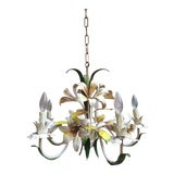 Image of Antique French Tole Flower Polychrome Metal Chandelier For Sale