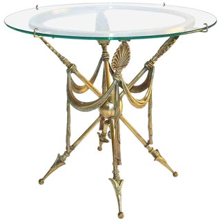 1960s French Empire Arrow Swag Brass End Table For Sale