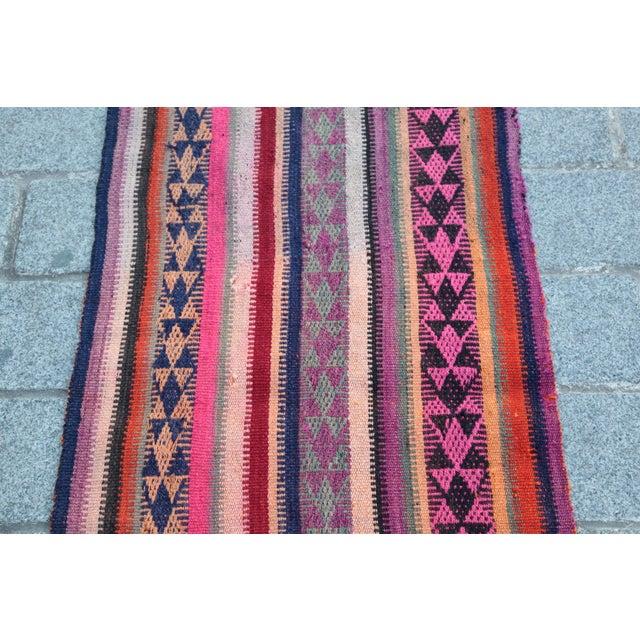 Colorful Striped Cicim Kilim -5' X 1' 5'' Kilim - Image 4 of 11