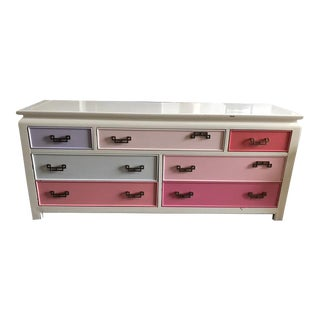 Custom Painted Shades of Pink Campaign Dresser
