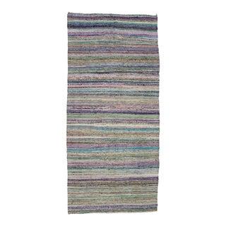 """Vintage Striped Rag Rug - 5'1"""" x 11'3"""" For Sale"""