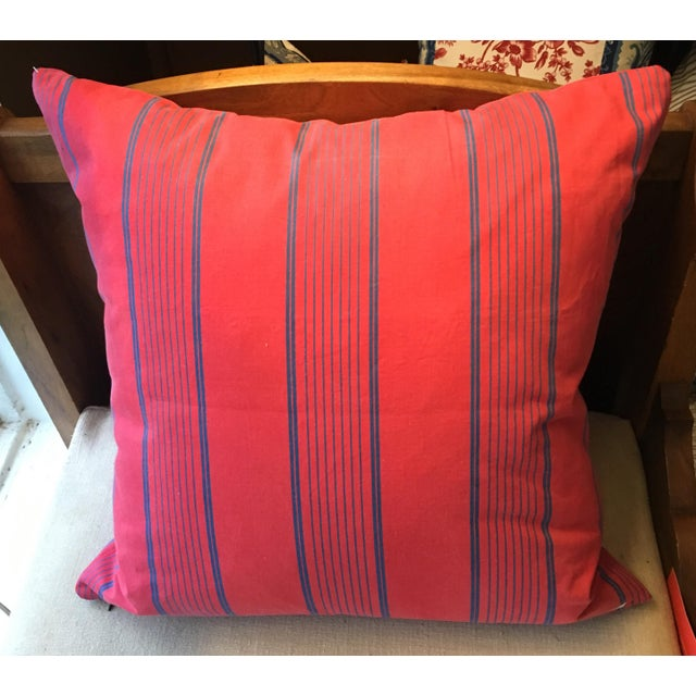A pillow made from 19th century French textiles, a down insert is included. Mary Jane McCarty Collection