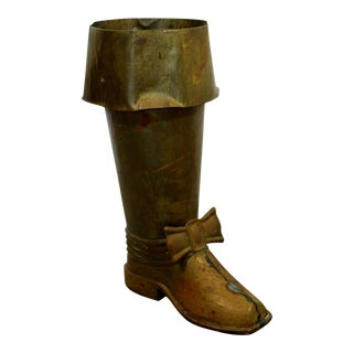 Mid Century Modern Spanish Brass Boot Floor Sculpture Umbrella Stand For Sale