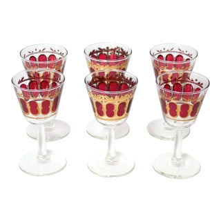Mid-Century 22 Karat Gold Culver Ltd. Cranberry Scroll Sherry Glasses - Set of 6 For Sale
