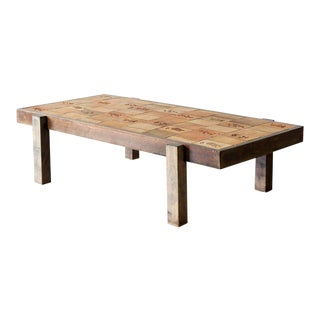 Roger Capron Coffee Table with Garrigue Tiles, Vallauris, France 1950s For Sale