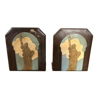Art Deco Leather Statue of Liberty Bookends-A Pair For Sale