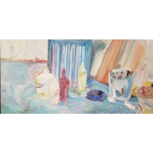 1970s 1970's John Purcell Abstract Still Life Oil on Canvas Painting, Framed For Sale - Image 5 of 12
