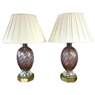 Barovier E Toso Murano Glass & Brass Table Lamps - A Pair For Sale