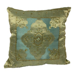 Mid 20th Century Decorative Turquoise Pillow Embellished with Sequins and Beads For Sale
