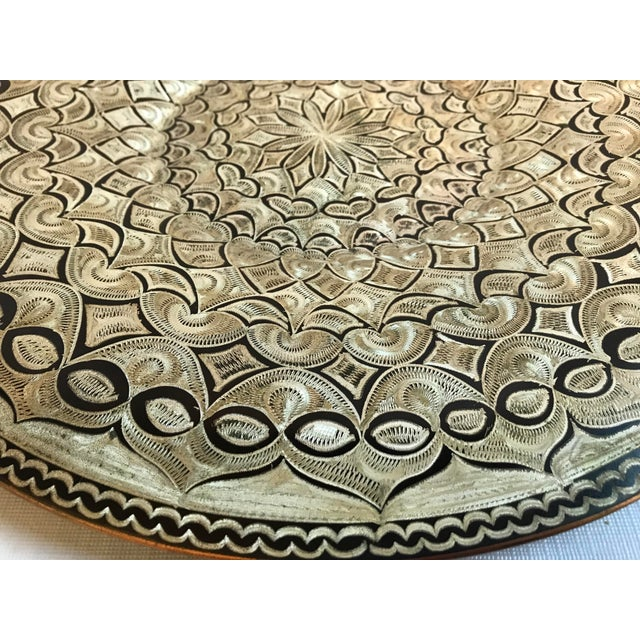 Mid 20th Century Vintage Etched Copper Platter Wall Hanging For Sale - Image 5 of 9