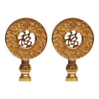 Chinoiserie Style Solid Brass Finials - A Pair