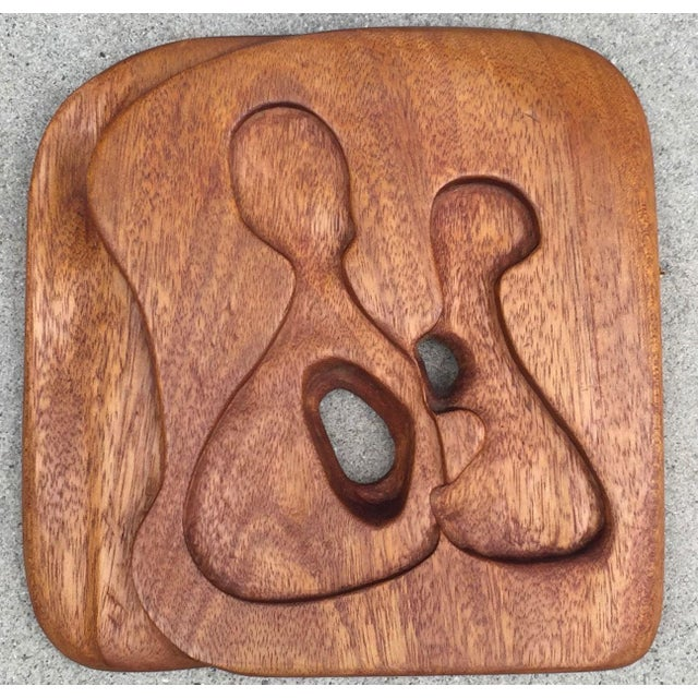 1950s-1960s Vintage Freeform Carved Wood Panel Wall Hanging Plaque For Sale - Image 9 of 10