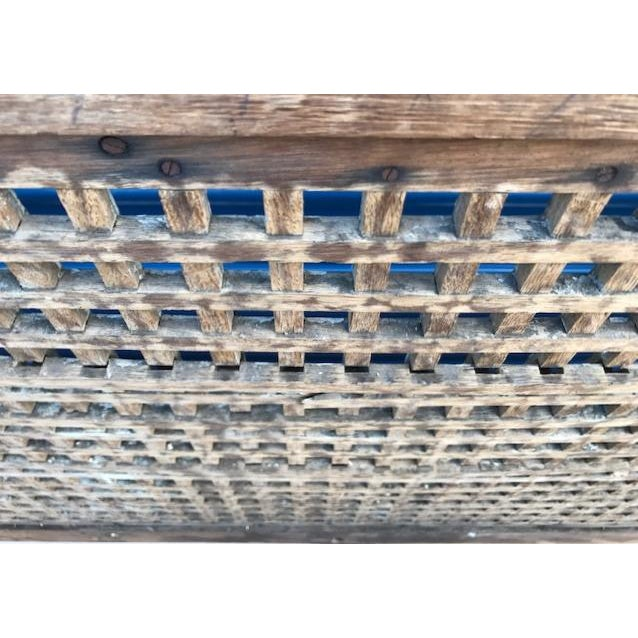 Tan Antique Wood Square Lattice 4 Post King Headboard & Footboard For Sale - Image 8 of 11