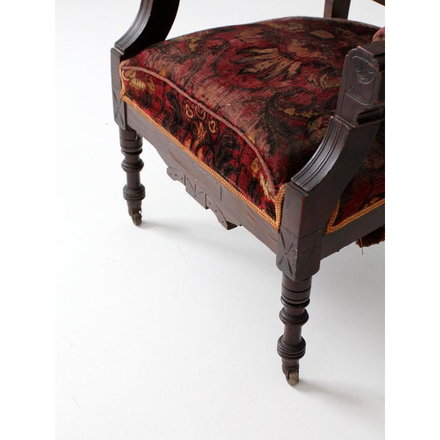 Baroque Antique Upholstered Arm Chair For Sale - Image 3 of 11