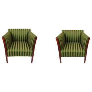 1930s Vintage Green Arm Chairs- a Pair For Sale