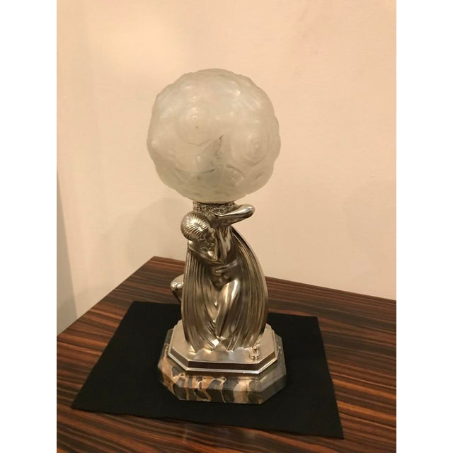 Art Deco French Art Deco Bronze Female Table Lamp Signed by Sabino For Sale - Image 3 of 11