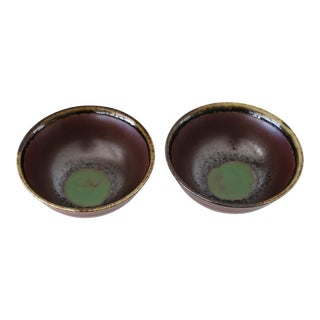 1970s Vintage Ceramic Green and Purple Bowls - a Pair For Sale