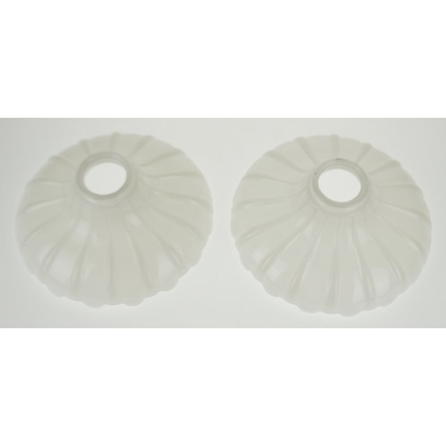 Vintage Opalescent White Glass Pendant Light Shades - a Pair For Sale In Philadelphia - Image 6 of 13