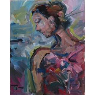 Jose Trujillo Original Portrait Flowers Girl Woman Expressionism Oil Painting For Sale