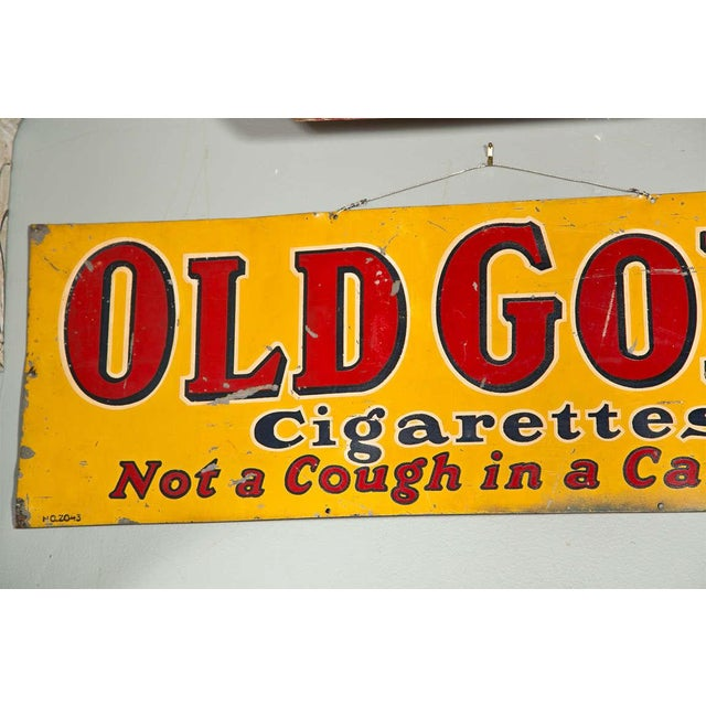"1930s Antique ""Old Gold Cigarettes"" Sign For Sale - Image 5 of 6"