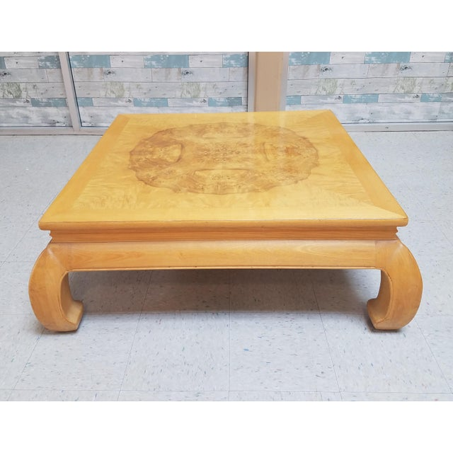 Asian Ming Henredon Burl Wood Coffee Table For Sale - Image 12 of 12