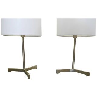 Pair of Small Desk Lamps in Brushed Chromed Steel by Nessen Lighting For Sale