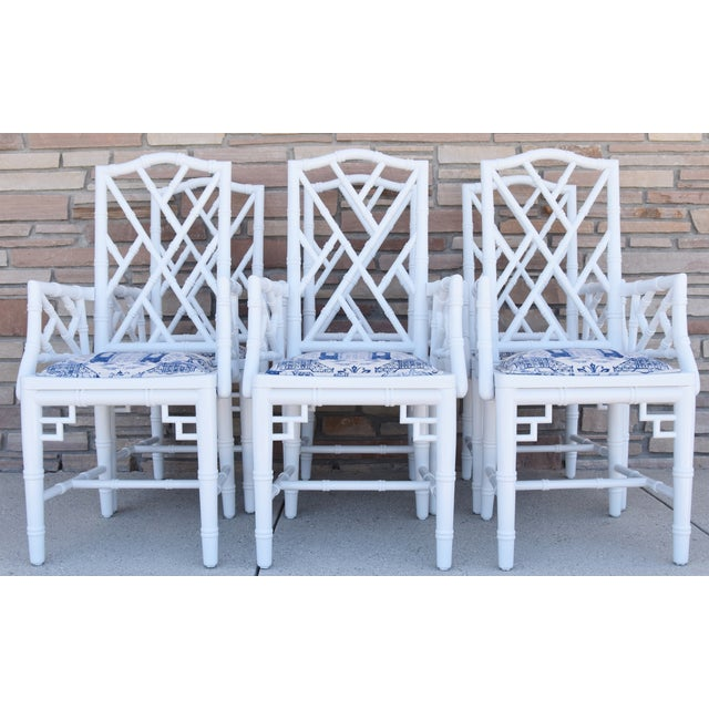 1950s Chinoiserie Faux-Bamboo Chippendale-Style Dinning Armchairs - Set of 6 For Sale - Image 12 of 13