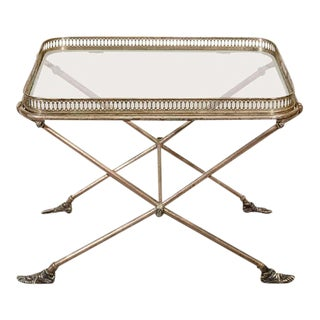 Figural Italian Silvered Bronze & Glass Tray Table For Sale
