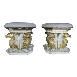 19th C. Painted & Parcel Gilt Griffen Stools - A Pair For Sale