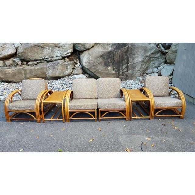 Vintage Paul Frankl Style Rattan Furniture - Set of 5 - Image 2 of 9