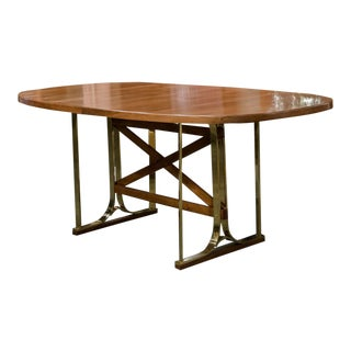 Italian Brass & Cherry Wood Centre Table For Sale