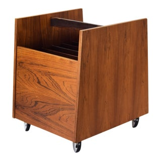 Rolf Hesland for Bruksbo Rosewood Scandinavian Mid-Century Modern Magazine Rack or Record Cart For Sale