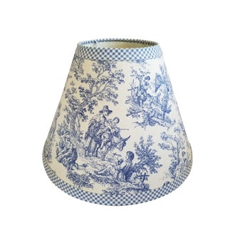 Blue & White Toile Task Lamp Shade For Sale