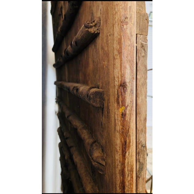 Late 19th Century Antique Indian Teak Wood Hand Carved Doors For Sale - Image 5 of 12