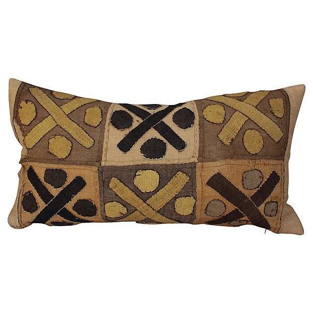 African Raffia Lumbar Pillow For Sale