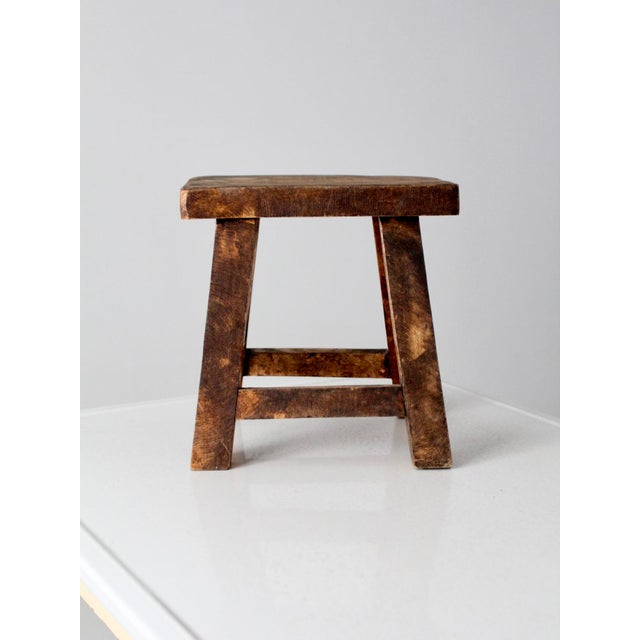 Wood Vintage Chinese Wood Stool For Sale - Image 7 of 8