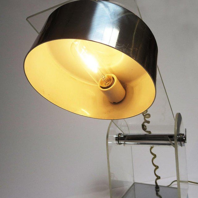 Lucite and Chrome Table or Desk Lamp For Sale - Image 9 of 10