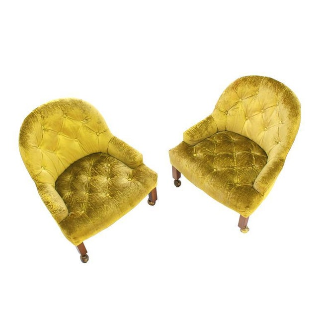 Pair of very nice Mid-Century Modern velvet tufted upholstery lounge chairs.
