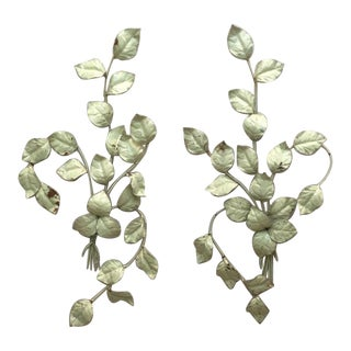 Green Leaf Motif Italian Tole Wall Hangings - a Pair For Sale