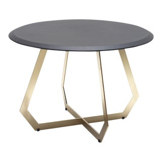 Contemporary Marie Burgos Design Table With Black Leather - Brass For Sale