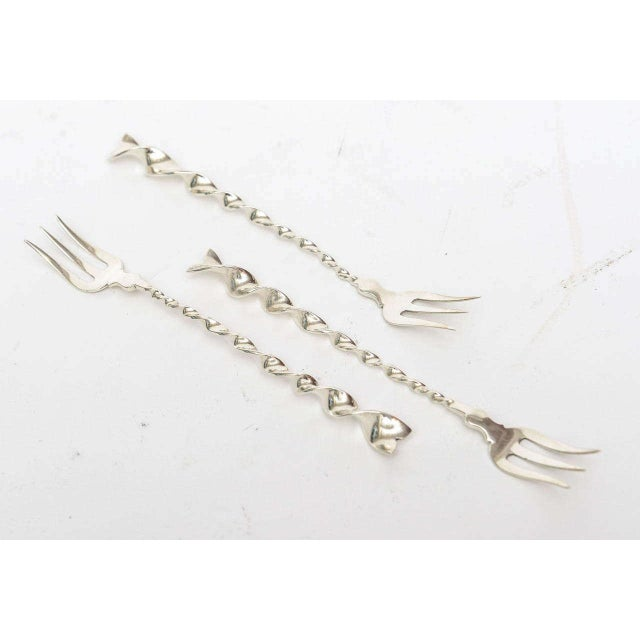 """Traditional Sterling Silver """"Twist and Ball"""" Cocktail or Serving Forks Set of !0 For Sale - Image 3 of 7"""