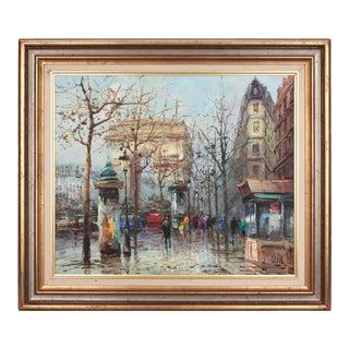 """French Original Impressionist Street Oil Painting """"Avenue Des Champs-Élysées"""" For Sale"""