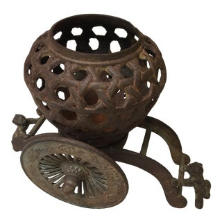 Vintage Chinese Iron Planter With Rickshaw Stand For Sale