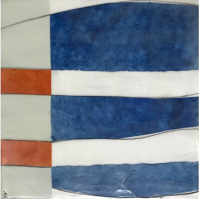 "Gina Cochran ""Perceptions No. 30"" Encaustic Collage Painting - Indigo & Orange For Sale In Washington DC - Image 6 of 7"