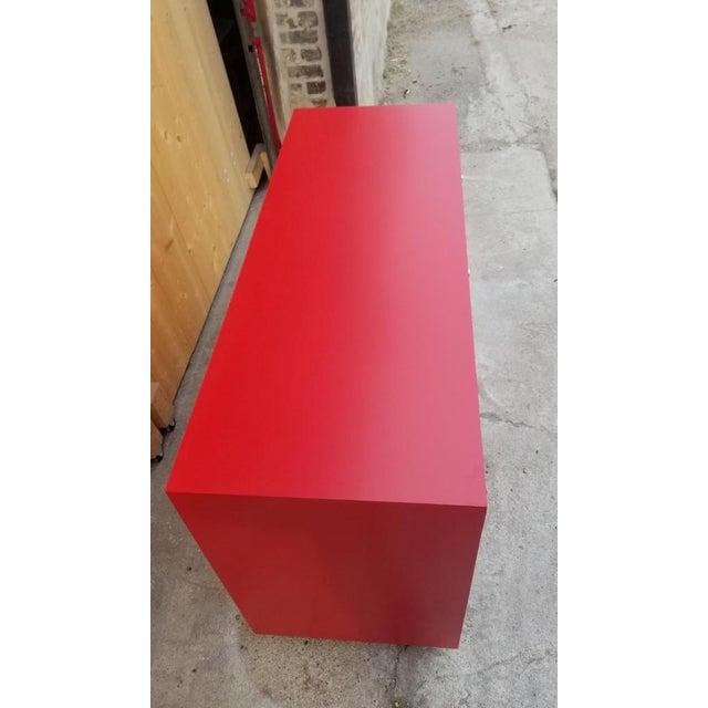 Mid-Century Modern Mid Century Modern t.h. Robsjohn-Gibbings for Widdicomb Credenza Dresser Freshly Painted in Red Paint For Sale - Image 3 of 8