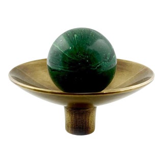 Addison Weeks Gibson Knob, Antique Brass & Malachite For Sale