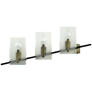 1950s Wall Light in Black Steel, Brass and Glass. Attributed to Stilnovo - Italy For Sale