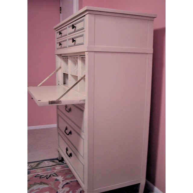 French Country 1961 French Provincial Drexel Triune Highboy Dresser With Desk For Sale - Image 3 of 8