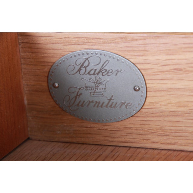 Baker Furniture Biedermeier Burl Wood and Primavera Highboy Chest of Drawers For Sale - Image 12 of 13