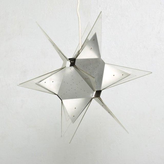 Metal Mid-Century Modern Aluminium and Plexiglass Moravian Star Pendant Lamp, 1960s For Sale - Image 7 of 7